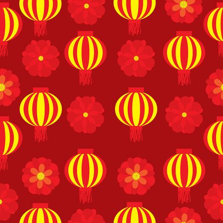 Seamless patterm of chinese new year with lampion and red flowers on red  background vector cartoon suitable for new year wallpaper design, fabric clothes design, and scrap paper