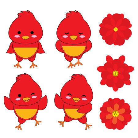 scrap gold: Set of cute rooster and red flowers vector cartoon suitable for kid sticker set design ,and clip art