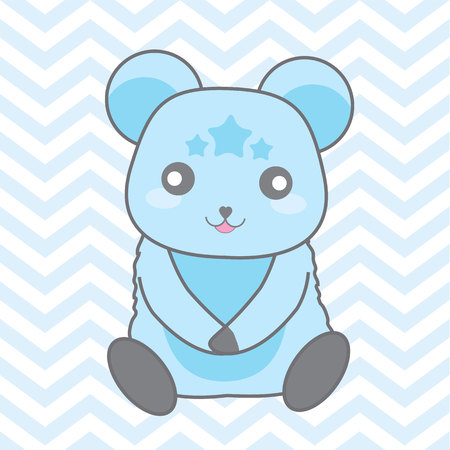 Cute blue bear on chevron background vector cartoon suitable for baby nursery wall design, t shirt design, and postcard Illustration