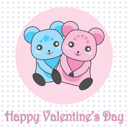scrap book: Cute couple bear on polka dot background vector cartoon suitable for Valentines day greeting card design, t shirt design, and postcard