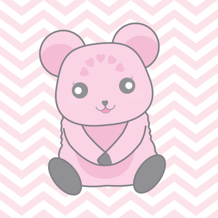 Cute pink bear on chevron background vector cartoon suitable for baby nursery wall design, t shirt design, and postcard