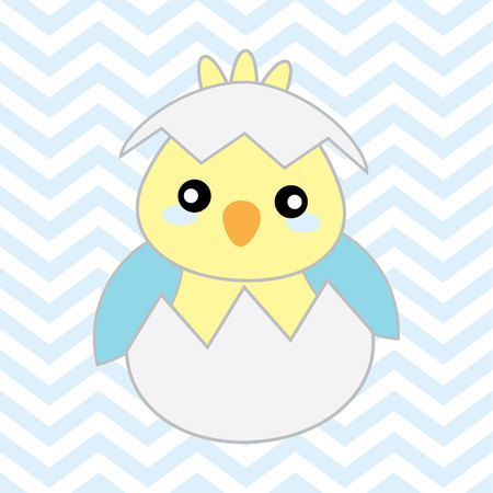 postcard: Baby shower illustration with cute blue baby chick on chevron background suitable for Baby showers greeting card, postcard, and nursery wall
