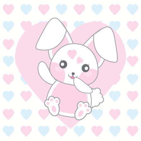 Valentines day illustration with cute pink rabbit on love background suitable for Valentines invitation card, postcard, and wallpaper