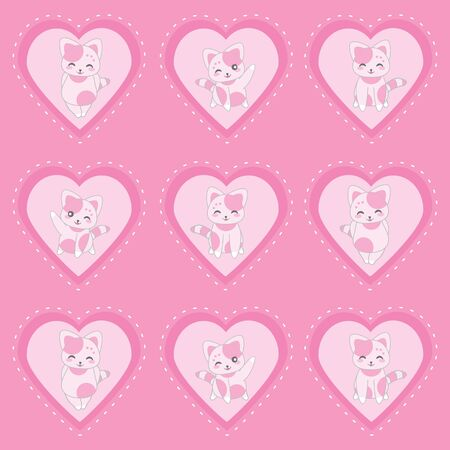 Valentines day illustration with cute pink cats on pink love background suitable for Valentine sticker set, clip art, and cupcake topper Illustration
