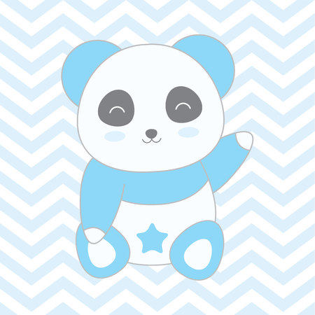 Baby shower illustration with cute blue panda on blue chevron background suitable for baby shower boy invitation card, greeting card, and nursery wall