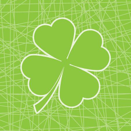 Leuke klaverblad online achtergrond vectorbeeldverhaalillustratie geschikt voor St. Patrick het ontwerp van de Dagkaart, prentbriefkaar, en uitnodigingskaart