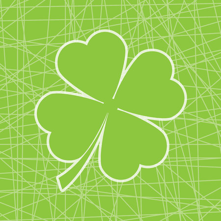 Cute shamrock leaf on line background vector cartoon illustration suitable for St. Patricks Day card design, postcard, and invitation card
