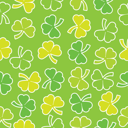 Seamless background of St. Patricks Day illustration with colorful shamrock leaves on green background suitable for St. Patricks Day wallpaper, scrap paper and postcard