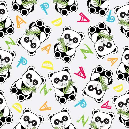Seamless background of Birthday illustration with cute baby panda on alphabets background suitable for birthday wallpaper, scrap paper and postcard