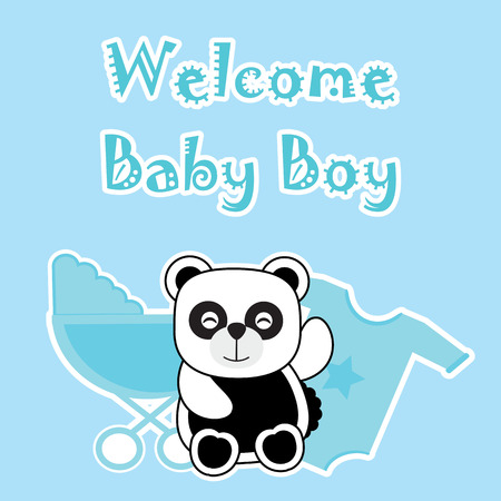 Baby Shower Card With Baby Panda Baby Cart And Baby Cloth Suitable