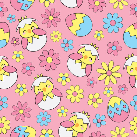 suitable: Easter Seamless background with cute chick, eggs and flowers on pink background suitable for Easter wallpaper, scrap paper, and postcard
