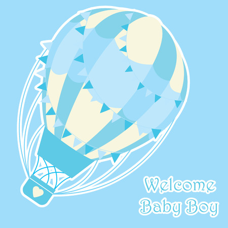 Baby shower card design vector illustration of cute blue hot air balloon on blue background for baby boy invitation card and postcard