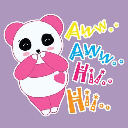 Kid t shirt design vector illustration of cute panda girl is shy on purple background for girl t shirt background and wallpaper Illustration