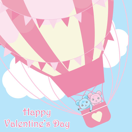 Valentines day card vector cartoon with cute couple bear in hot air ballon on sky background suitable for kid valentine postcard and greeting card