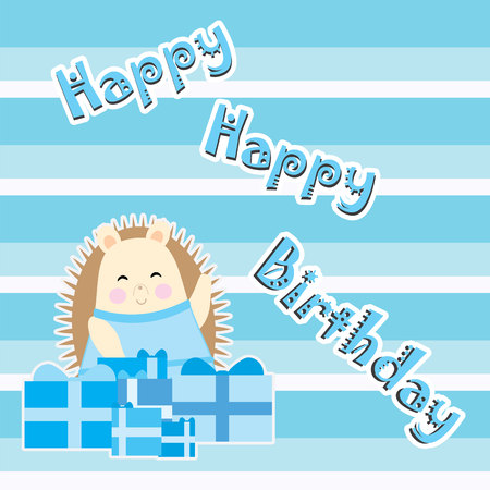 Birthday card with cute hedgehog on blue stripes background suitable for birthday invitation card, greeting card, and wallpaper 일러스트