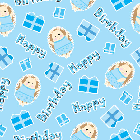 Birthday seamless pattern with cute hedgehog and birthday gift on blue background suitable for birthday wallpaper, scrap paper, and fabric 일러스트