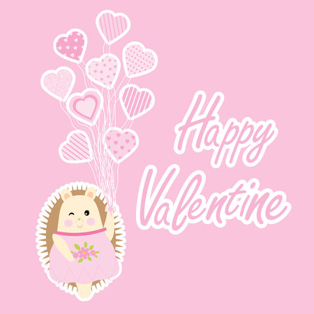 Valentine card vector cartoon with cute porcupine girl brings love balloons suitable for kid Valentine postcard and greeting card