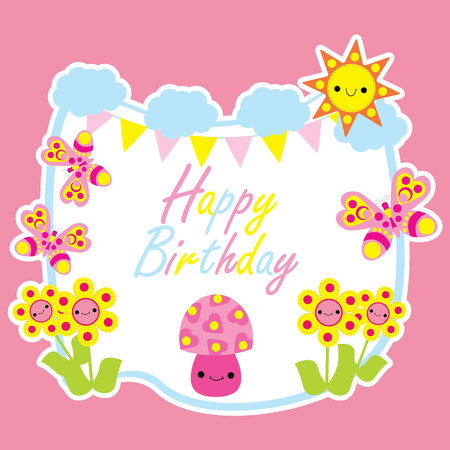 Birthday Card With Cute Mushroom Cartoon In The Garden Suitable