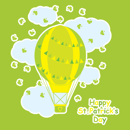 Saint Patrick Days card with cute hot air balloon and shamrock leaves suitable for kid postcard, greeting and invitation card 일러스트