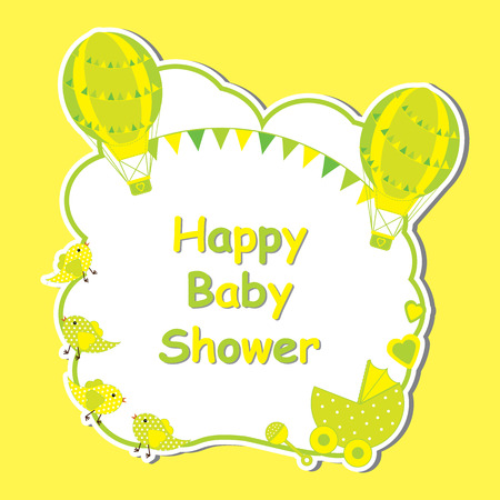 Baby shower card with cute hot air balloon, baby cart, and bird frame on yellow background suitable for baby shower postcard, greeting card, and invitation card Illustration