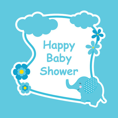 Baby Shower Card With Cute Elephant And Flower Frame Suitable