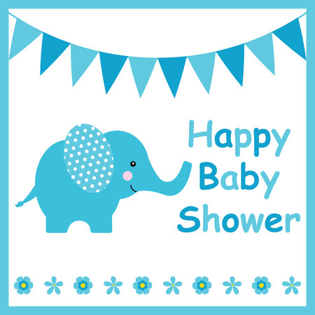 Baby Shower Card With Cute Elephant Suitable For Postcard Greeting