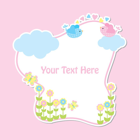 Spring card with cute birds and flower frame suitable for kid postcard, greeting, and invitation card 일러스트