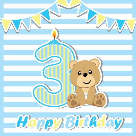 third birthday: Birthday card with cute bear and colorful flag suitable for postcard, greeting, and invitation card