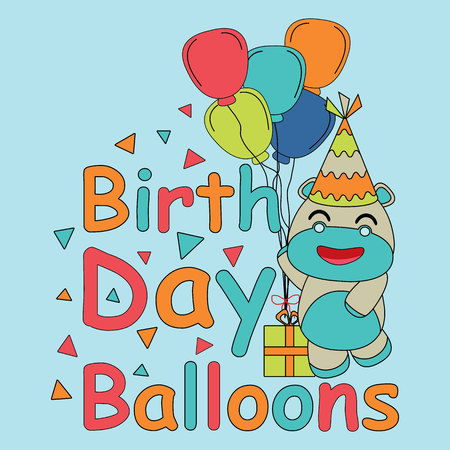 Birthday card vector cartoon with cute baby hippo brings balloons on blue background suitable for children birthday postcard and invitation card