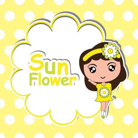 suitable: Kid T-shirt background vector cartoon with cute girl on flower frame polka dot background suitable for girl t-shirt background and wallpaper