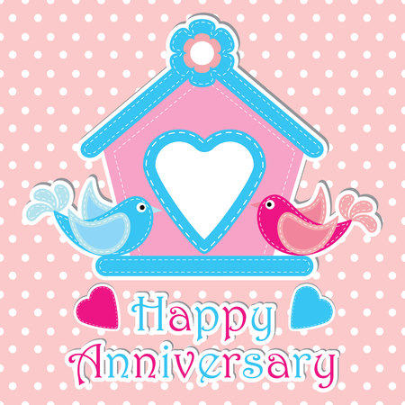 Happy anniversary vector cartoon illustration with couple birds and pink cage on polka dot background suitable for happy anniversary greeting card design, postcard and wallpaper