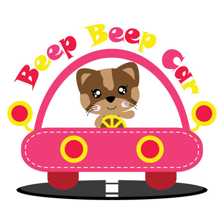 Vector cartoon illustration of cute cat girl drives pink car suitable for kid t-shirt graphic design, backdrop and wallpaper Illustration