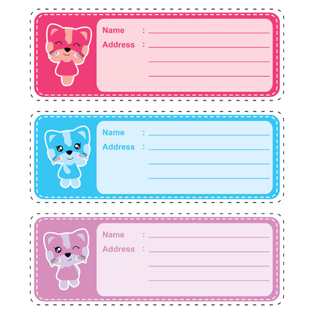 Address label vector cartoon with cute colorful cat girl suitable for kid address label design, address tag and sticker set.