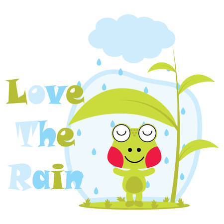 Vector cartoon illustration of cute frog loves the rain suitable for kid t-shirt graphic design, backdrop and wallpaper
