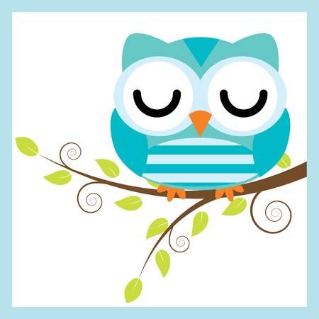 Cartoon illustration with cute owl sleep on tree branch.