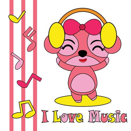 Cartoon illustration with cute puppy loves music.