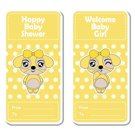 Vector cartoon illustration with cute puppy girls on yellow polka dot background suitable for Baby shower label design, banner set and invitation card