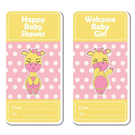 baby announcement card: Baby shower label design, banner set and invitation card with cute giraffe in polka dots background.