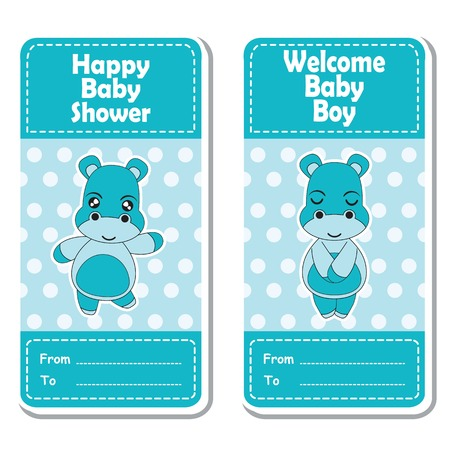 baby announcement card: Vector cartoon illustration with cute hippo boy on blue polka dot background suitable for Baby shower label design, banner set and invitation card