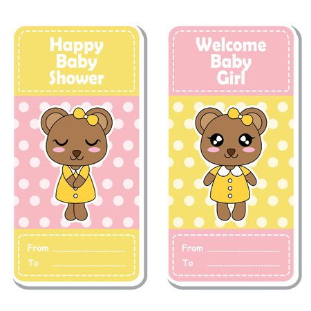 baby announcement card: Vector cartoon illustration with cute bear girls on pink and yellow polka dot background suitable for Baby shower label design, banner set and invitation card