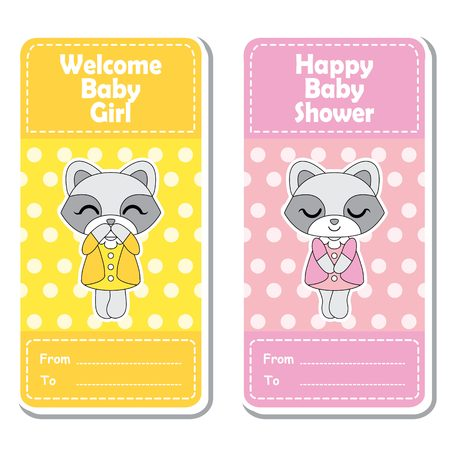 baby announcement card: Vector cartoon illustration with cute raccoon girls on pink and yellow polka dot background suitable for Baby shower label design, banner set and invitation card