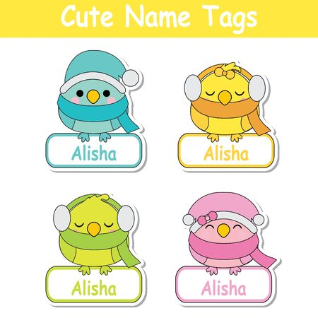 Vector cartoon illustration with colorful cute baby birds suitable for kid name tag set design, label name, and printable sticker set