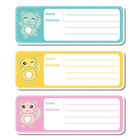Vector cartoon illustration with cute cats on colorful background suitable for kid address label design, address tag and printable sticker set
