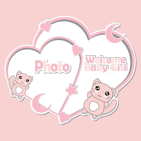 Vector cartoon illustration with cute pink kitten, stars, and moon on love frames suitable for Baby shower invitation card design, backdrop and wallpaper