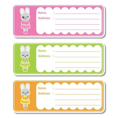 Vector cartoon illustration with cute bunny girls on colorful background suitable for kid address label design, address tag and printable sticker set