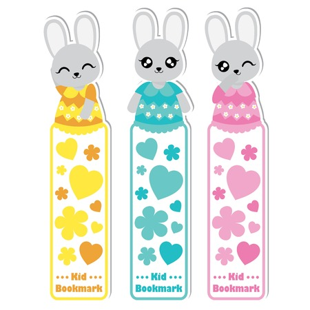 Vector cartoon illustration with cute colorful bunny girls, flowers, and love suitable for kid bookmark label design, bookmark tag and sticker set 矢量图像