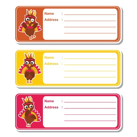Vector cartoon illustration with cute turkeys on colorful background suitable for kid address label design, address tag and printable sticker set