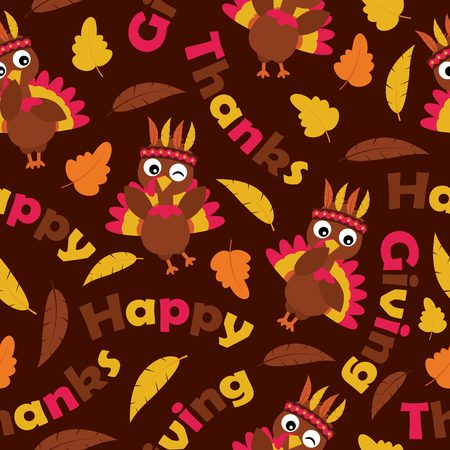 A Seamless pattern with cute turkeys and maple leaves on brown background vector cartoon suitable for thanksgiving wallpaper design