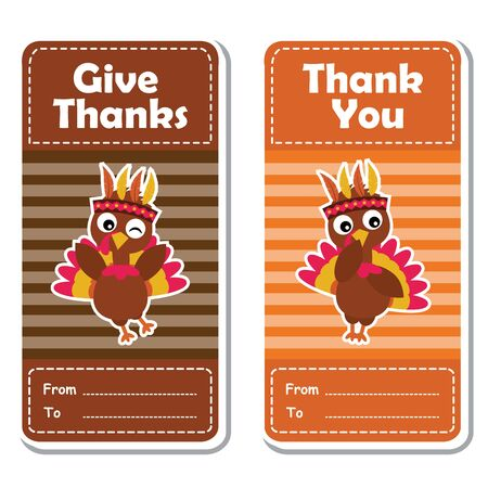 A Vector cartoon illustration with cute turkey bird on striped background suitable for happy thanksgiving's day label design, banner set and invitation card Illustration