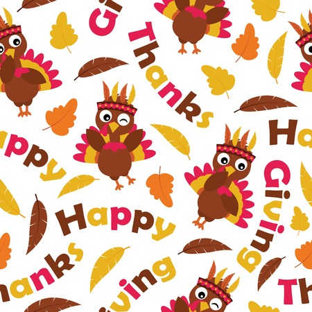 Seamless pattern with cute turkeys and maple leaves vector cartoon suitable for thanksgiving wallpaper design, scrap paper and kid fabric clothes background